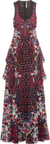 Mary Katrantzou Macarthur ruffled printed silk-chiffon maxi dress