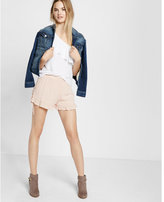 Express gathered side-tie ruffle shorts