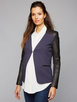 A Pea in the Pod 1 Button Closure Leather Maternity Blazer