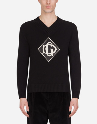 Dolce & Gabbana Wool V-Neck Sweater With Patch