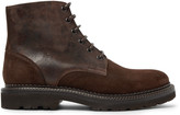 Brunello Cucinelli Textured-Leather and Suede Boots