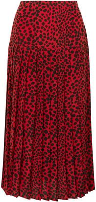 Rixo Tina Pleated Leopard-print Silk Crepe De Chine Midi Skirt