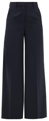 Cefinn - High-rise Twill Wide-leg Trousers - Womens - Navy