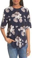 Theory Women's Antazie Floral Crepe De Chine Top