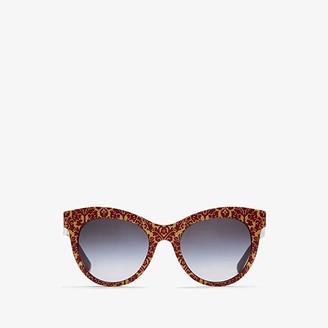 Dolce & Gabbana DG4311 (Damasus Glitter/Bordeaux/Grey Gradient) Fashion Sunglasses