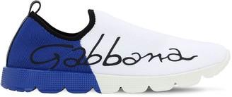 Dolce & Gabbana Logo Print Knit Slip-on Sneakers