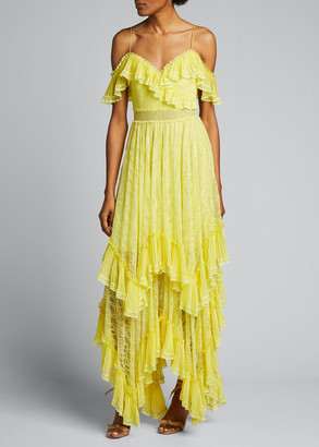 Alice + Olivia Harper Cold-Shoulder Tiered Handkerchief Gown
