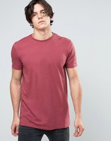 Asos Longline T-Shirt In Red
