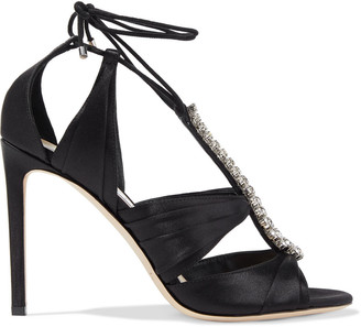 Jimmy Choo Kenny 100 Crystal-embellished Pleated Satin Sandals