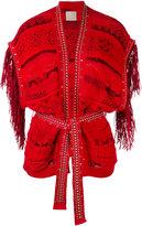 Laneus fringed shortsleeved cardigan - women - Cotton/Polyamide/Viscose - 42