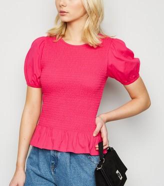 New Look Bright Shirred Peplum Hem T-Shirt