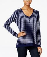 Ultra Flirt Juniors' Striped Tie-Neck Tunic
