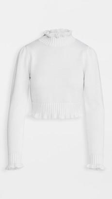 Cropped Ruffle Mock Neck Sweater