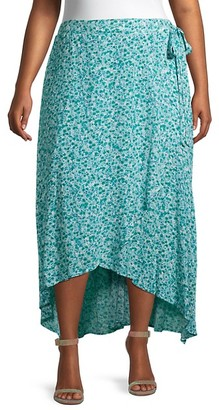 Bobeau Plus Buttercup Floral Wrap Skirt