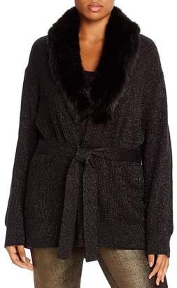 MICHAEL Michael Kors Faux-Fur-Collar Cardigan