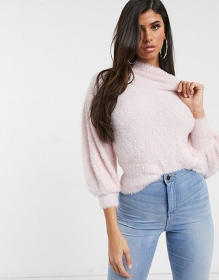 Asos Design DESIGN eyelash jumper with volume sleeve-Pink