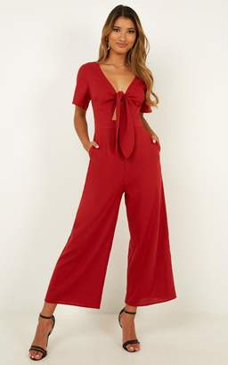 Showpo The Thing About Her Jumpsuit in chilli linen look - 6 (XS)