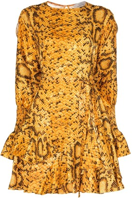 Preen by Thornton Bregazzi Lupita flared snake print dress