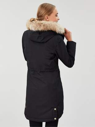 Joules Kempton Coat with Ribbed Inner - Black
