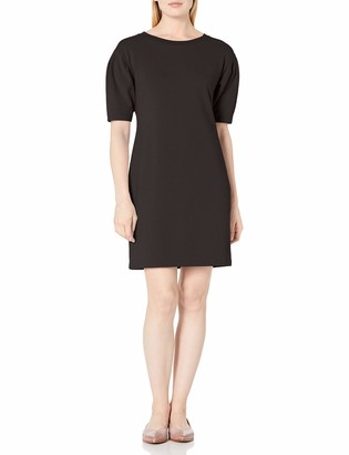 Daily Ritual Amazon Brand Women's Relaxed Fit Terry Cotton and Modal Pleated-Sleeve Sweatshirt Dress