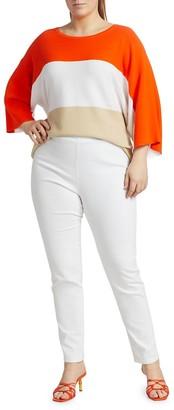 Joan Vass, Plus Size Tri-Color Knit Sweater
