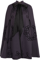 Temperley London Voyage Embroidered Wool Cape - Grape