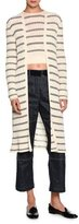 Giorgio Armani Striped Long Open Cardigan, Off White