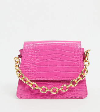 Reclaimed Vintage inspired mini bag with chain detail in pink croc