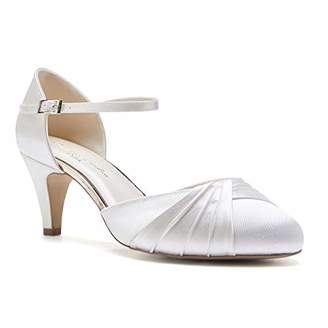 Paradox London Pink Paradox London Women's Alina Wide Fit Satin Wedding Shoes Bridal Mid Heel Court Shoes