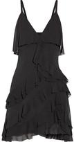 Alice + Olivia Alice Olivia - Lavinia Ruffled Crepon Mini Dress - Black