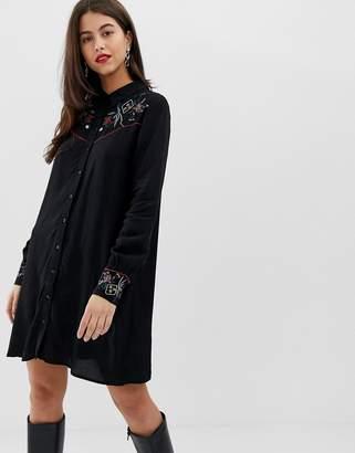 Vila western embroidered shirt dress-Black
