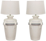 One Kings Lane Vintage Pair of Mid-Century Pottery Jar Lamps - Vintage Bella Home - off white