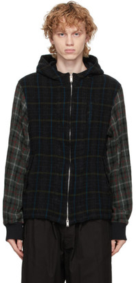 Undercover Black Wool Checkered Hood Jacket