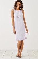J. Jill Yarn-Dyed Linen Buttoned-Hem Dress