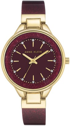 Anne Klein Womens Analogue Classic Quartz Watch with Leather Strap AK/N1408BYBY