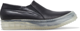 Rick Owens No Cap Leather Slip-on Sneakers
