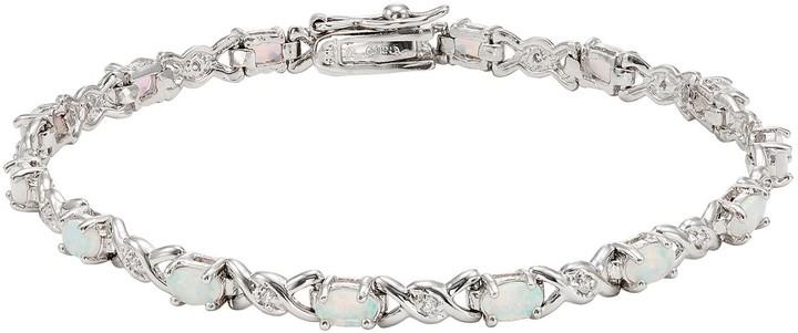 Xo Lab-Created Opal & Cubic Zirconia Sterling Silver Bracelet