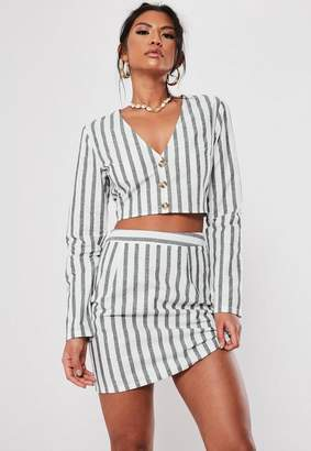 Missguided Black Stripe Cotton Crop Top Co Ord