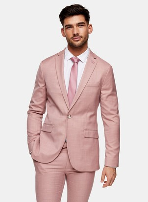 Topman Pink Super Skinny Fit Single Breasted Suit Blazer With Notch Lapels