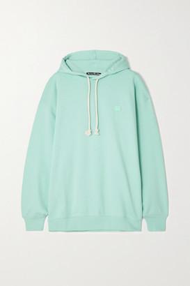 Acne Studios Net Sustain Farrin Face Oversized Appliqued Organic Cotton-jersey Hoodie - Mint
