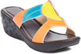 Pandora Orange & Red Wendy Slip-On Wedge Sandal