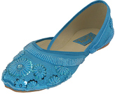 Turquoise Floral Beaded Flat