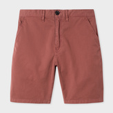 Paul Smith Men's Washed Pink Garment-Dyed Stretch-Cotton Shorts
