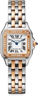 Cartier Panthere de Small Stainless Steel, 18K Rose Gold & Diamond Bracelet Watch