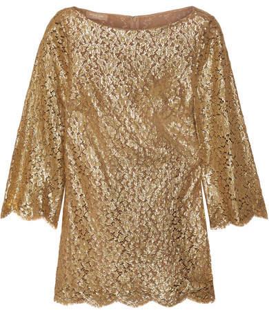 Michael Kors Metallic Guipure Lace Blouse - Gold