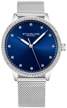 Stuhrling Original Women's Silver Case and Mesh Bracelet, Silver Dial Watch