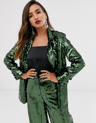 Asos Edition EDITION double breasted blazer in sequin-Green