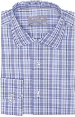 Hickey Freeman Windowpane Long Sleeve Contemporary Fit Dress Shirt
