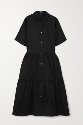 Co Tiered Cotton-poplin Midi Shirt Dress - Black