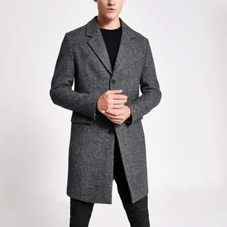 River Island Mens Grey grey single breasted wool overcoat